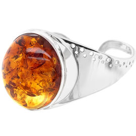 Natural Baltic Amber Bangle (Size 7) in Sterling Silver, Silver wt 25.49 Gms