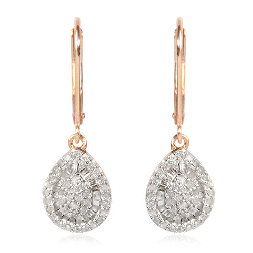 Diamond (Rnd) Earrings (with Lever Back) in Rose Gold and Platinum Overlay Sterling Silver 0.500 Ct, Number of Diamond 134