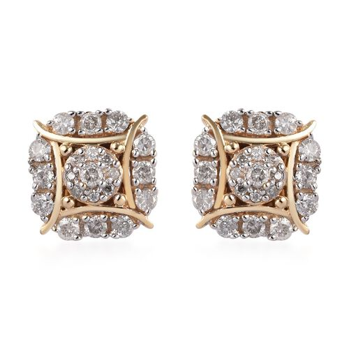9K Y Gold SGL certified Diamond (I3/G-H) Stud Earrings (with Push Back) 0.33 Ct.