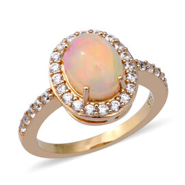 Ethiopian Welo Opal (Ovl 1.25 Ct), Natural Cambodian White Zircon Ring in Yellow Gold Overlay Sterli
