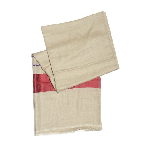 Limited Available - 100% Cashmere Wool Burgundy and White Colour Shawl (Size 200x70 Cm)