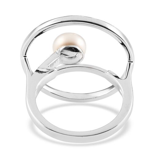 Sundays Child - Freshwater Pearl Ring in Platinum Overlay Sterling Silver