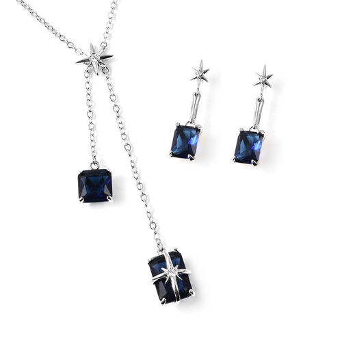 Set of 2 - Simulated Blue Sapphire Necklace (Size 20 with 3 inch Extender) & Earrings (with Push Bac