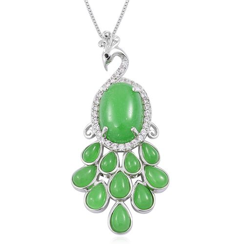 Green Jade (Ovl 6.75 Ct), Boi Ploi Black Spinel and Natural White Cambodian Zircon Peacock Pendant With Chain in Rhodium Plated Sterling Silver 12.120 Ct.