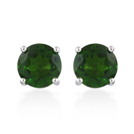 1.75 Ct AA Russian Diopside Solitaire Stud Earrings in 9K White Gold