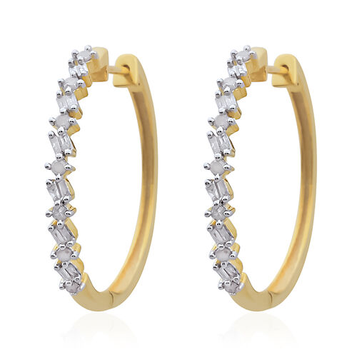 Diamond (Rnd and Bgt) Hoop Earrings (with Clasp) in 14K Gold Overlay Sterling Silver 0.500 Ct.