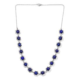 64 Carat Lapis Lazuli Floral Necklace in Platinum Plated 20 Inch