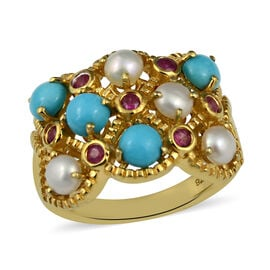 Arizona Sleeping Beauty Turquoise (Rnd), Freshwater Pearl and African Ruby Ring in 14K Gold Overlay