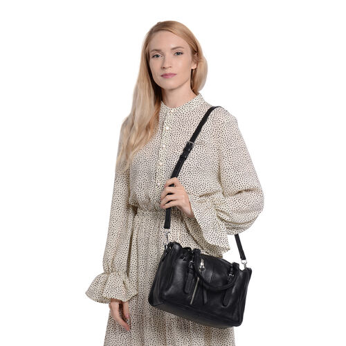Super Soft 100% Genuine Leather Tote Bag with Detachable Shoulder Strap (Size 30x12x20) - Black