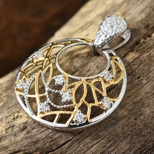 J Francis - Platinum and Yellow Gold Overlay Sterling Silver (Rnd) Pendant Made with SWAROVSKI ZIRCONIA