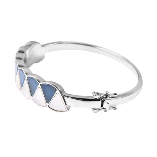 Isabella Liu Dance of Ginkgo - Blue Jade, White Mother of Pearl Bangle (Size 7.5) in Rhodium Overlay Sterling Silver 16.01 Ct, Silver wt. 37.48 Gms