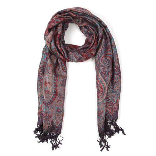 SILK MARK - 100% Superfine  Multi Colour Jacquard Scarf with Fringes (Size 180x70 Cm) (Weight 125 - 140 Grams)