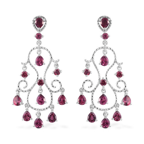 Orissa Rose Garnet Earrings (with Push Back) in Platinum Overlay Sterling Silver 6.00 Ct, Silver wt.