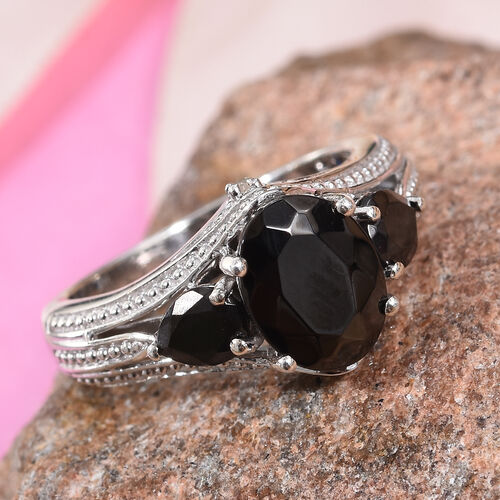 GP Elite Shungite (Ovl and Pear), Blue Sapphire and Diamond Ring in Platinum Overlay Sterling Silver 1.59 Ct.