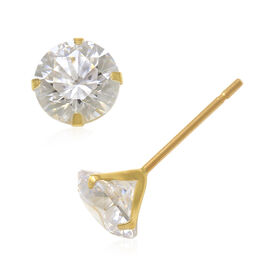 J Francis 9K Yellow Gold Stud Earrings (with Push Back) Made with SWAROVSKI ZIRCONIA 1.68 Ct.