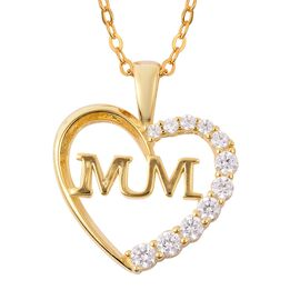 J Francis - 14K Gold Overlay Sterling Silver (Rnd) Mum Heart Pendant with Chain Made with SWAROVSKI