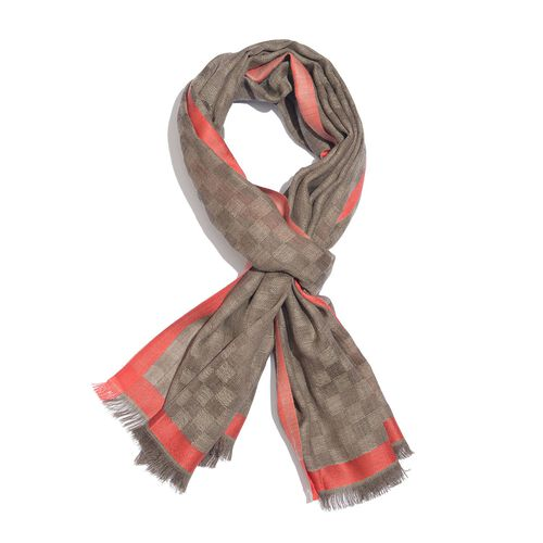 92% Merino Wool and 8% Silk Dark Brown and Red Colour Checkers Pattern Scarf with Fringes (Size 180X