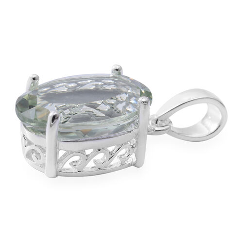 Green Amethyst (Ovl) Solitaire Pendant in Sterling Silver 5.000 Ct.
