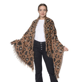 Winter Christmas Special- Designer Inspired Leopard Print Scarf (Size 220x60cm)- Brown and Black
