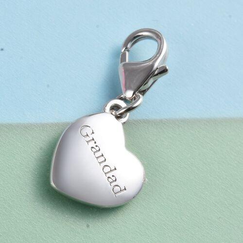 Platinum Overlay Sterling Silver Grandad Heart Charm
