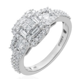 ILIANA 1 Carat Diamond Cluster Ring in 18K White Gold 4.69 Grams IGI Certified SI GH