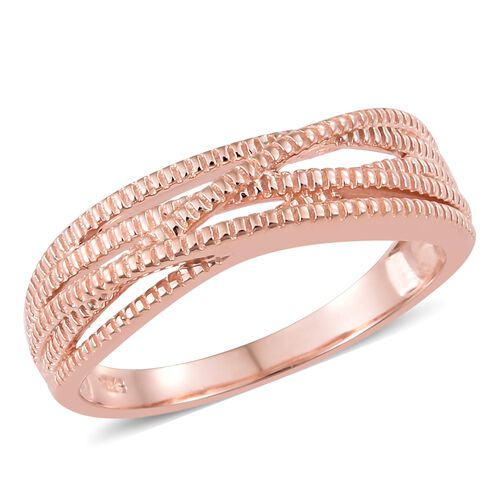 Rose Gold Overlay Sterling Silver Ring with Rope Texture Multi Layer Design, Silver wt 3.85 Gms