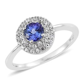 1 Carat AA Tanzanite and Natural Cambodian Zircon Halo Ring in 9K White Gold