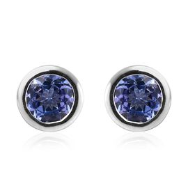 0.88 Ct AA Tanzanite Stud Solitaire Earrings in Platinum Plated Sterling Silver