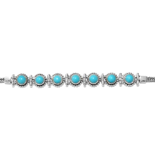 Super Aucton - Artisan Crafted Arizona Sleeping Beauty Turquoise (Rnd) Bracelet (Size 7.5 with Extender) in Sterling Silver 3.59 Ct, Silver wt 10.28 Gms.