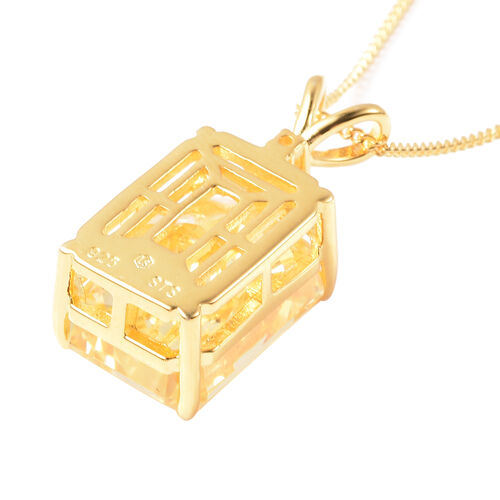 ELANZA Simulated Yellow Sapphire and Simulated Diamond Pendant With Chain in Yellow Gold Overlay Sterling Silver, Silver wt. 5.99 Gms