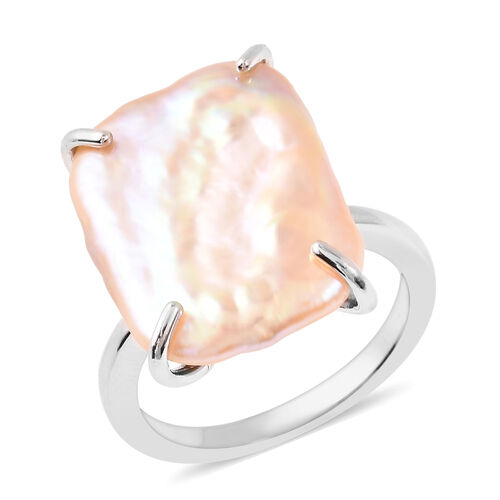 Baroque Peach Pearl Solitaire Ring in Rhodium Plated Sterling Silver