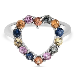 Multi Sapphire Ring in Platinum Overlay Sterling Silver 1.13 Ct