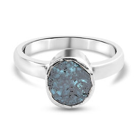 Artisan Crafted Blue Polki Diamond Ring in Platinum Overlay Sterling Silver 0.50 Ct.