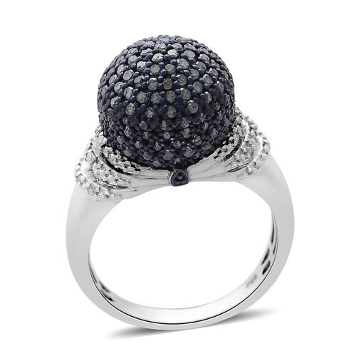 Designer Inspired - Blue diamond (1.00 Ct) and Diamond Platinum Overlay Sterling Silver Ring  1.000  Ct.
