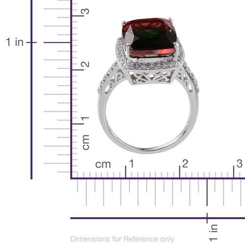 Tourmaline Colour Quartz (Cush 11.50 Ct), White Topaz Ring in Platinum Overlay Sterling Silver 12.250 Ct.