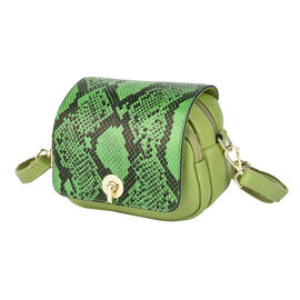 Genuine Leather Womens Snake Print Crossbody Bag with Shoulder Strap - Black