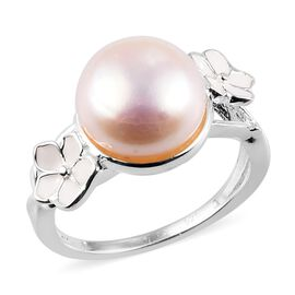 AA Freshwater Pearl Enamelled Floral Ring in Sterling Silver