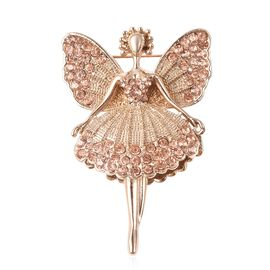 Champagne Colour Austrian Crystal (Rnd) Fairy Brooch in Yellow Gold Tone