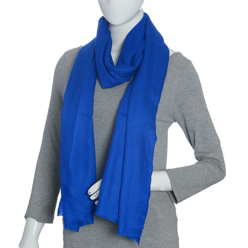 Limited Available - Super Soft- 100% Cashmere Wool French Navy Blue Colour Shawl with Fringes (Size 200X70 Cm)