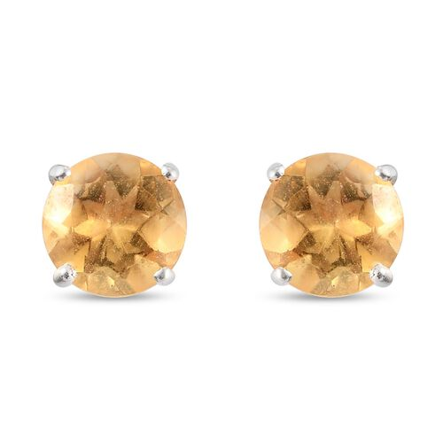 Citrine Solitaire Stud Earrings (with Push Back) in Sterling Silver 1.75 Ct.