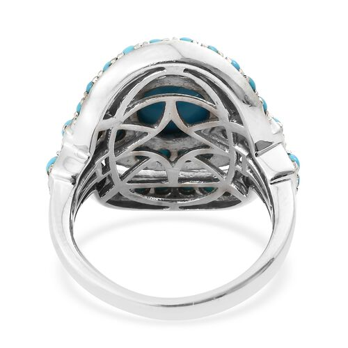 Arizona Sleeping Beauty Turquoise (Ovl 2.00 Ct) Ring in Platinum Overlay Sterling Silver 4.000 Ct. Silver wt 7.30 Gms.