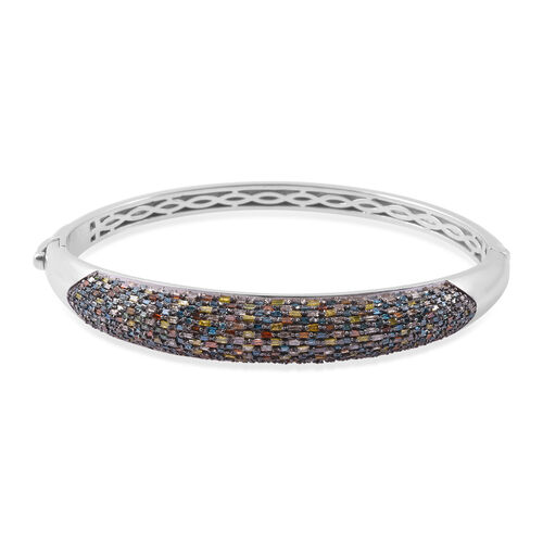 Red, Green, Blue, Yellow and Champagne Diamond Bangle (Size7.25) in Platinum Overlay Sterling Silver 3.00 Ct, Silver wt 24.40 Gms,