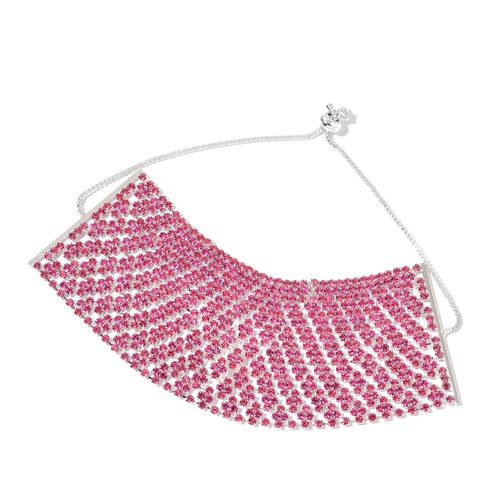 AAA Pink Austrian Crystal Adjustable Bracelet (Size 6.5 to 11.5) in Silver Tone