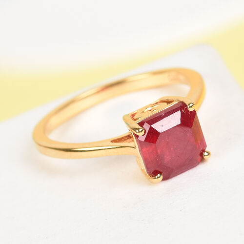 African Ruby (Asscher Cut) Solitaire Ring in 14K Gold Overlay Sterling Silver 2.75  Ct.