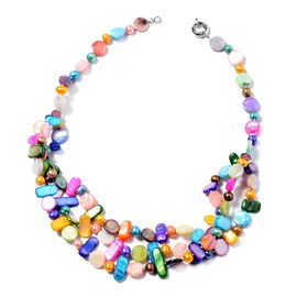 Multicolour Shell and Freshwater Pearl Beaded Necklace 20 Inch