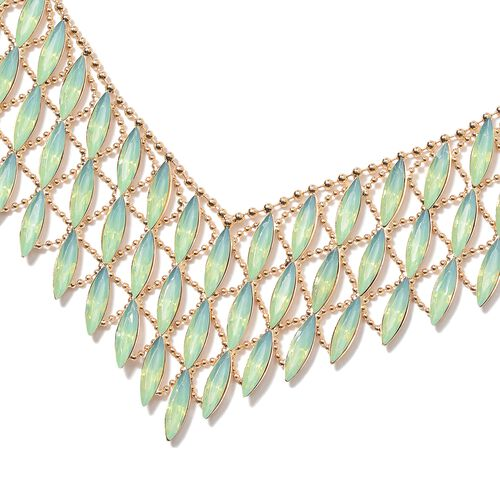 Designer Inspired-Simulated Peridot (Mrq) Waterfall Necklace (Size 20 with 3 inch Extender)