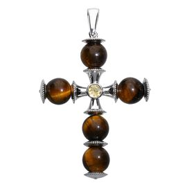 40.50 Ct Tigers Eye and Citrine Cross Pendant in Platinum Plated