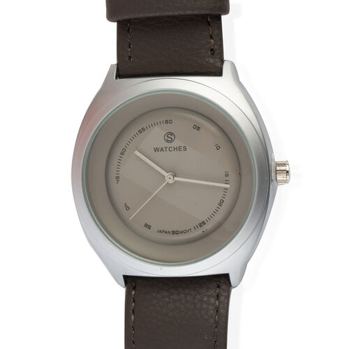 STRADA Japanese Movement Silver Grey Colour Plated Water Resistant Watch with Light Grey Colour Literal and Strap.