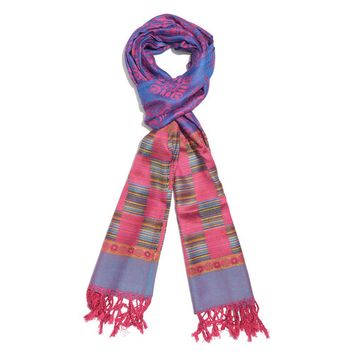 Designer Inspired-Pink, Purple and Multi Colour Floral Pattern Scarf with Fringes (Size 190x70 Cm)