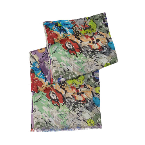 HD Printed - Floral Design Green, Purple and Multi Colour Scarf (Size 180x70 Cm)